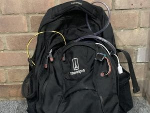 portable air quality monitor in a rucksack