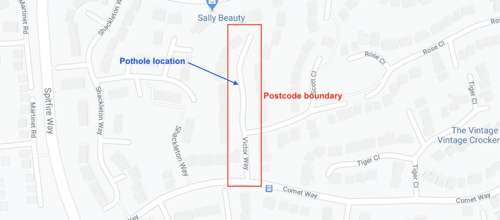 report potholes how to locate - postcode