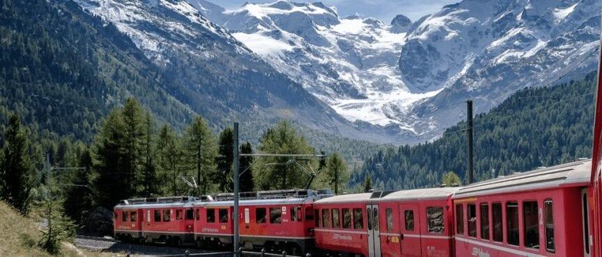 sustainable transportation - train in mountains - passengera