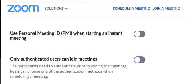 zoom privacy - turn off PMI persona meetings