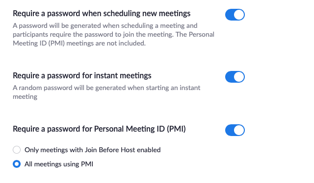 zoom privacy - password protect meetings